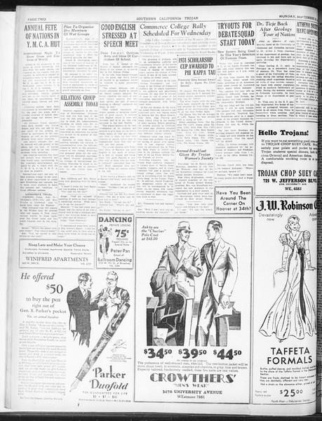 Daily Trojan, Vol. 23, No. 12, September 28, 1931