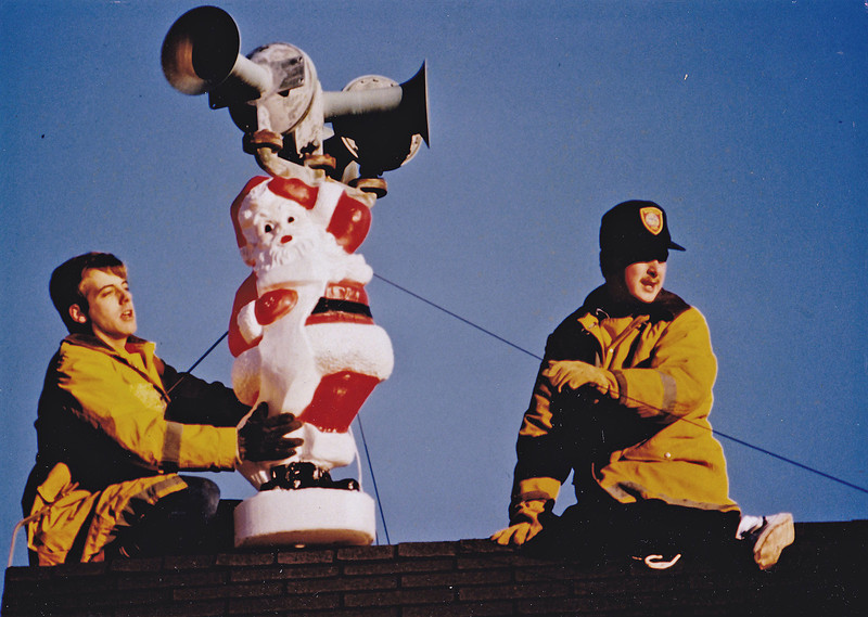 Wenham Firefighters Steven Cameron and myself making the WFD festive back in the early 90's