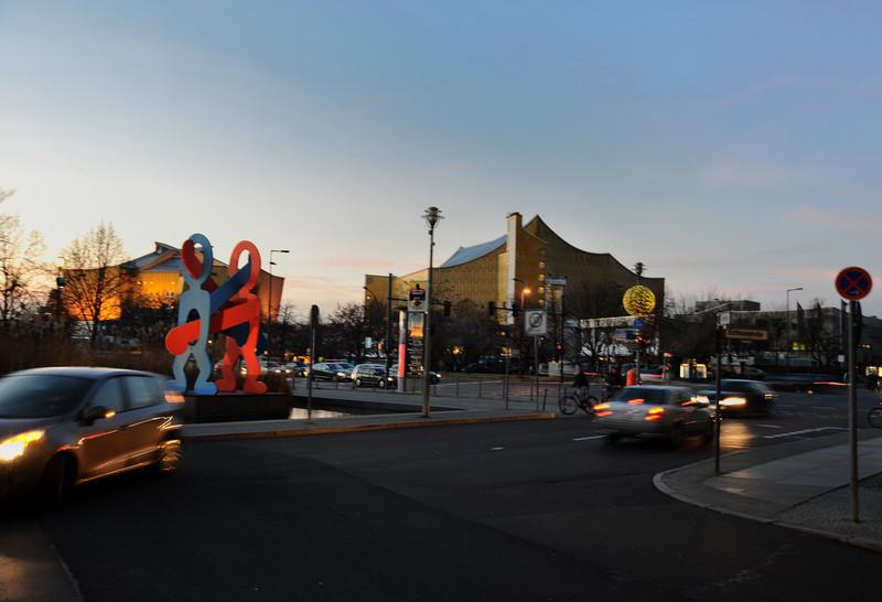 Dusk near the Philharmonie, Potsdamer Platz, Berlin.