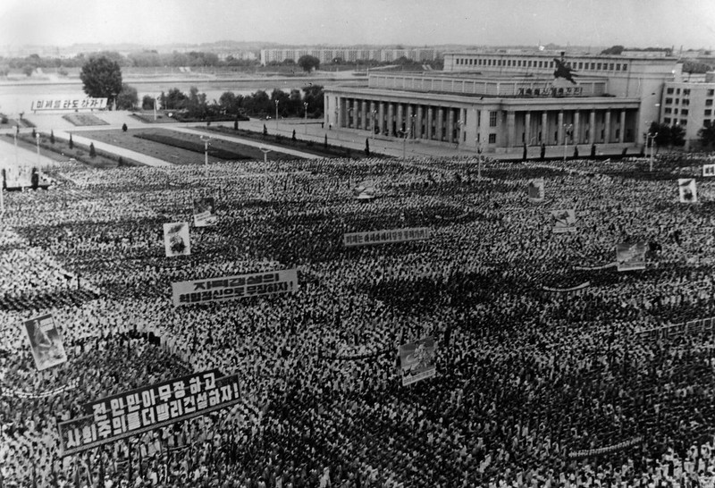 . In this June 24, 1963 photo from North Korea\'s official Korean Central News Agency, distributed by Korea News Service, anti-American rally held by the three hundred thousand Pyongyang citizens at Kim Il Sung Square in Pyongyang, North Korea. (Korean Central News Agency/Korea News Service via AP Images)