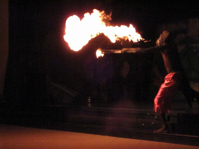 Spitting fire as part of Saturday's evening entertainment.