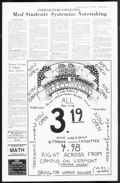 Daily Trojan, Vol. 66, No. 49, December 03, 1973