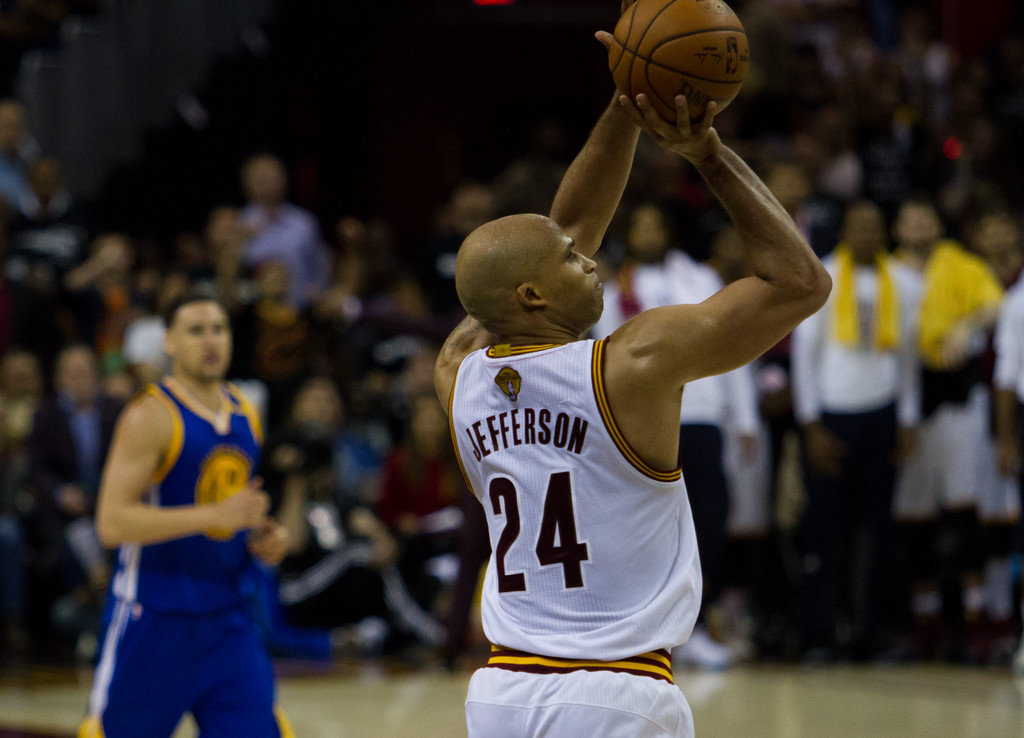. Richard Jefferson of the Cleveland Cavaliers takes a shot during game 4 of the NBA Finals against the Golden State Warriors at the Quicken Loans Arena on June 10, 2017.  The Cavs defeated the Warriors 137-116.