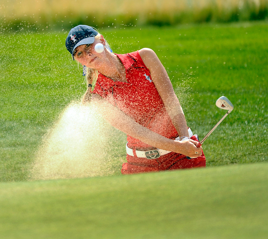 . PARKER, CO. - AUGUST 17: American golfer Jessica Korda came out of the sand onto the 9th green Saturday at the Solheim Cup. It was the American Team versus the Europeans as play continued at the Colorado Golf Club Saturday afternoon, August 17, 2013. Photo By Karl Gehring/The Denver Post