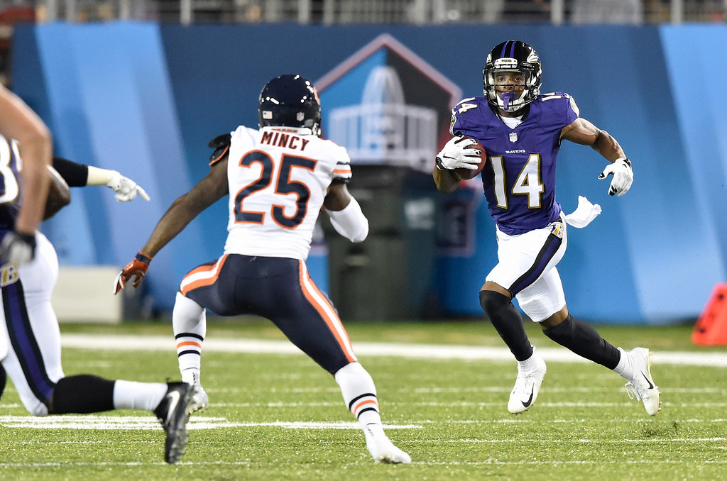 . Baltimore Ravens wide receiver Tim White (14) returns a punt against the Chicago Bears in the firs t half at the Pro Football Hall of Fame NFL preseason game, Thursday, Aug. 2, 2018, in Canton, Ohio. (AP Photo/David Richard)
