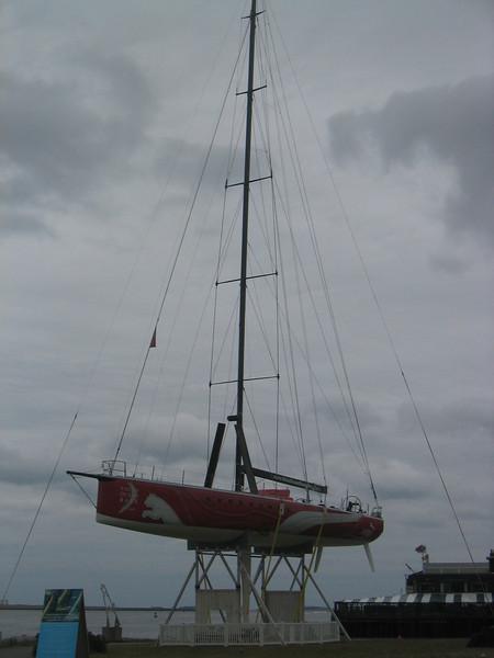 Racing Sailboat on HarborWalk at the Fan Pier. Boston