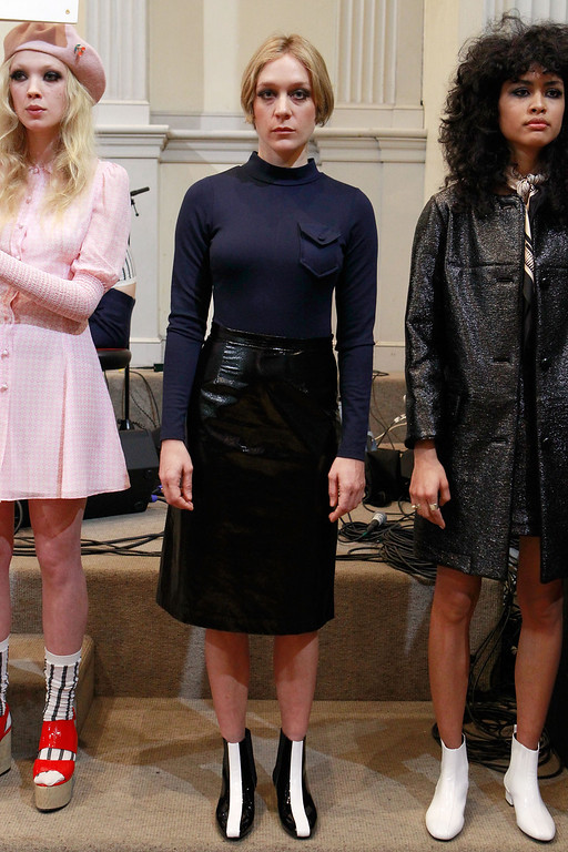 . NEW YORK, NY - FEBRUARY 09:  Chloe Sevigny poses in the Chloe Sevigny for Opening Ceremony presenation during Mercedes-Benz Fashion Week at St. Mark\'s Church In The Bowery on February 9, 2013 in New York City.  (Photo by Mark Von Holden/Getty Images)