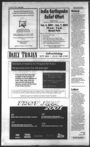 Daily Trojan, Vol. 142, No. 19, February 06, 2001