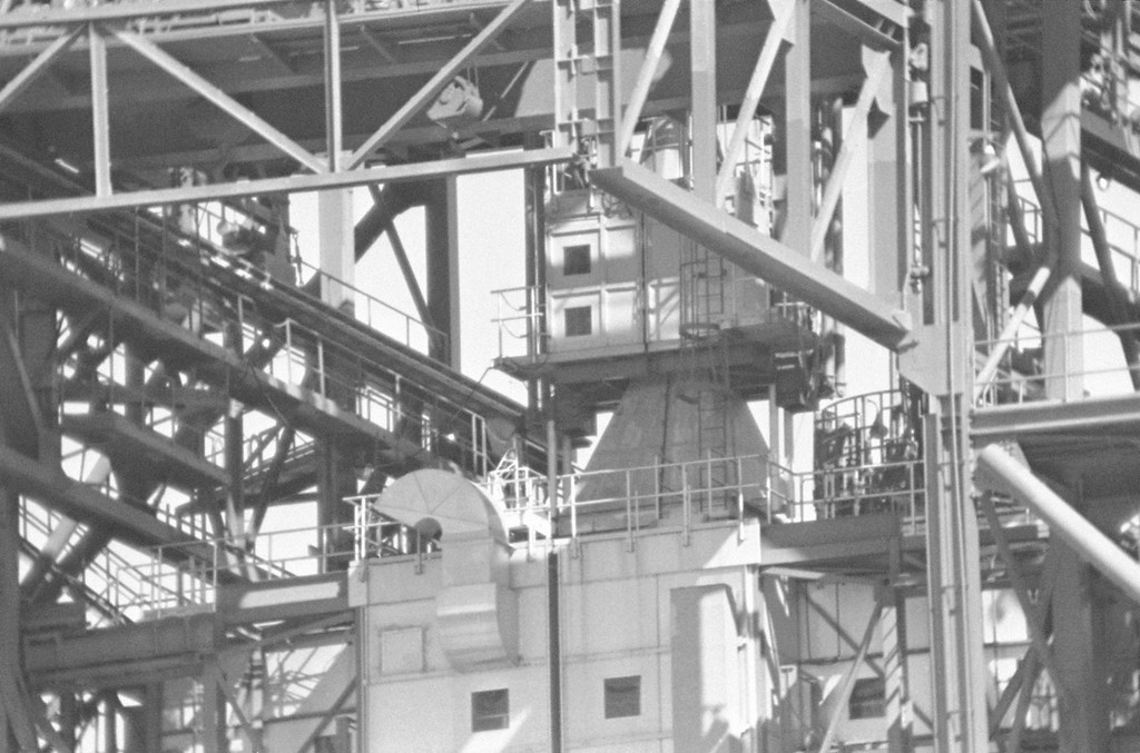 . The cone-shaped object high in the Saturn-Apollo rocket gantry is the shield-covered spacecraft in which three astronauts were killed when a flash fire struck during a countdown simulation, shown in Cape Kennedy on Jan. 28, 1967 when National Aeronautics and Space Administration officials escorted newsmen to within 1,000 feet of the rocket pad. (AP Photo/Harold Valentine)
