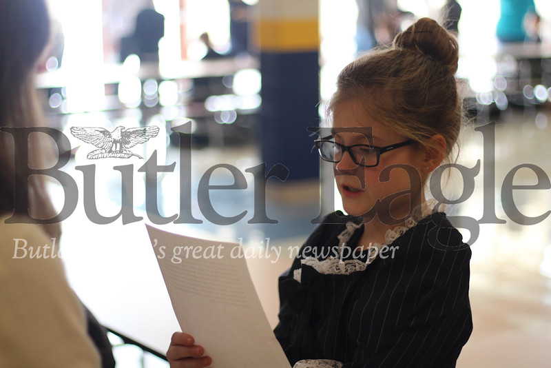 Third grader Molly Brown, pictured here as Abigail Adams, the nation's second first lady.name; mars wax museum 2. Photos by Caleb Harshberger