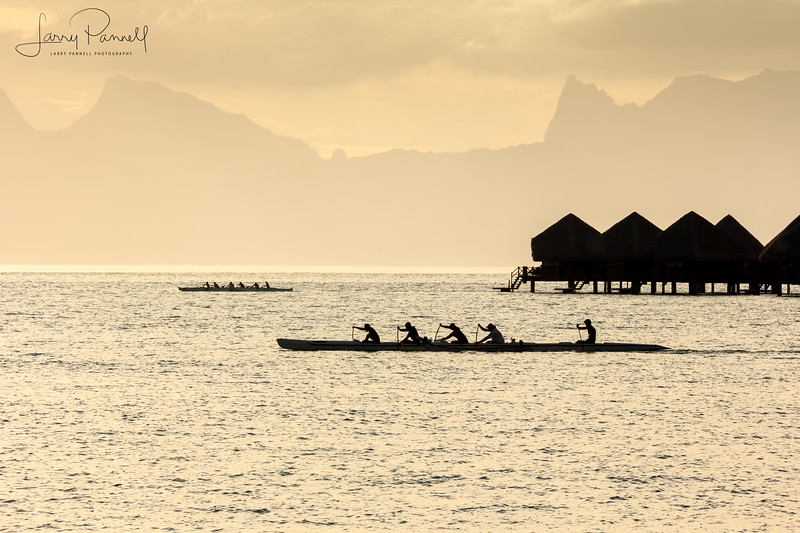 Tahiti Canoes at Sunset