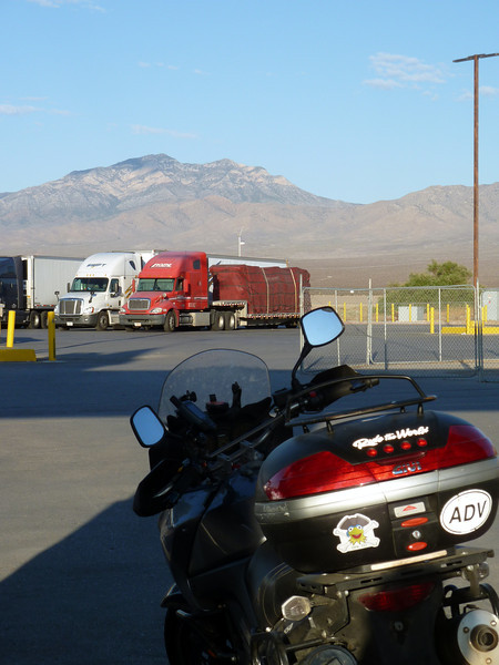 Ted's V-Strom and Death Valley mountains.