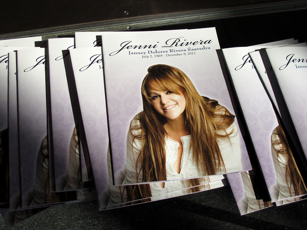 . Programs for fans at the Jenni Rivera memorial service at the Gibson Amphitheatre Wednesday, December 19, 2012, in Universal City. (Michael Owen Baker/Los Angeles Daily News)