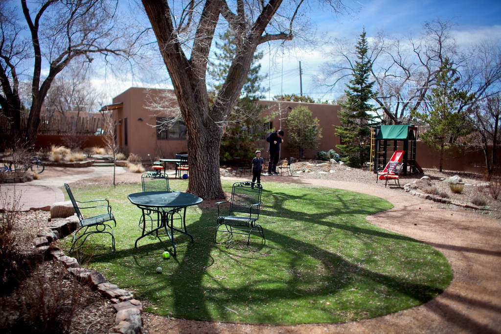 . A patch of artificial grass in the backyard provides a pleasant setting for patio furniture as well as a play spot for their young sons. Additionally, Downey cites no watering, fertilizing, weeding and no mowing among the advantages of the artificial turf.  (Special to the Pioneer Press: Mark Holm)