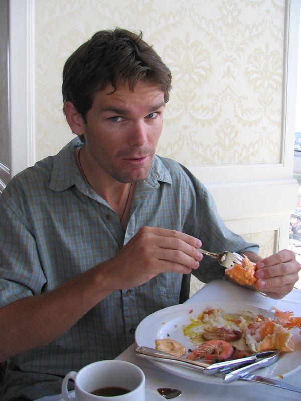 John enjoying the famous Louisiana seafood
