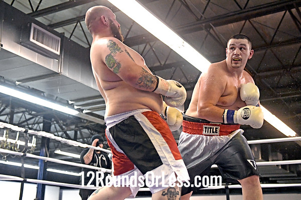 Third Pro Bout=Bout 10 Andrew Satterfield, Silver + Red Trunks -vs- Tim Dunn, Red, White + Black Trunks, Heavyweight, Pro Boxing