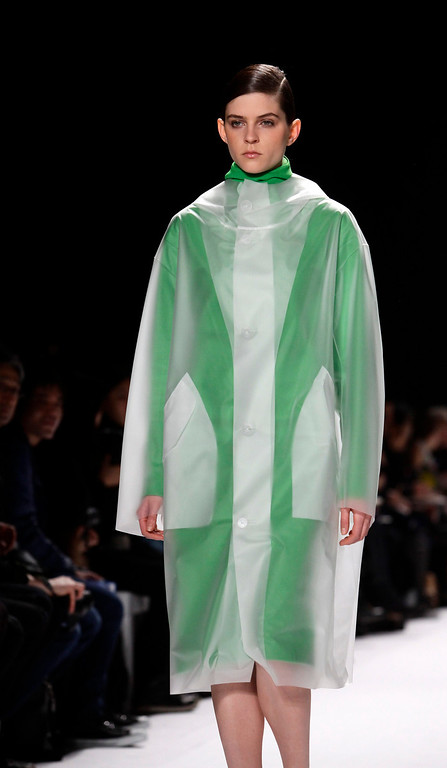 . A model presents a creation from the Lacoste Autumn/Winter 2013 collection during New York Fashion Week, in New York February 9, 2013. REUTERS/Joshua Lott