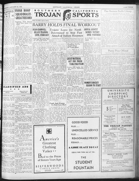 Daily Trojan, Vol. 23, No. 74, January 14, 1932