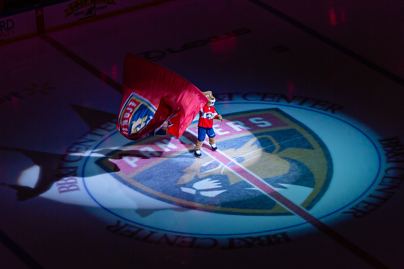Stanley C. Panther, waves a giant Panthers flag during the pregame festivities at the BB&T Center, where the Panthers hosted the Vancouver Canucks on Thursday, January 9, 2020. The Panthers would go on to beat the Canucks 5-2.  [JOSEPH FORZANO/palmbeachpost.com]