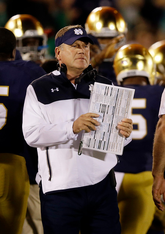 . Notre Dame coach Brian Kelly calls a play during the first half of an NCAA college football game against Michigan in South Bend, Ind., Saturday, Sept. 6, 2014. (AP Photo/Michael Conroy)