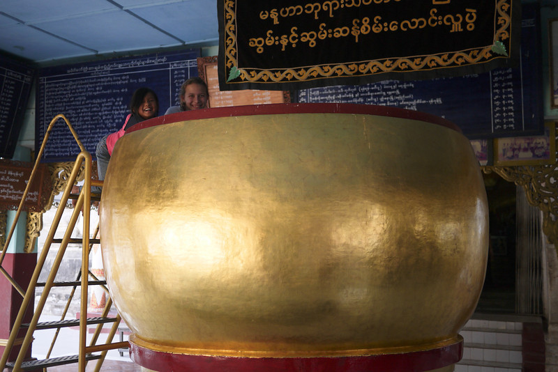 The giant pot of rice at Manuha in Bagan, Burma (Myanmar)