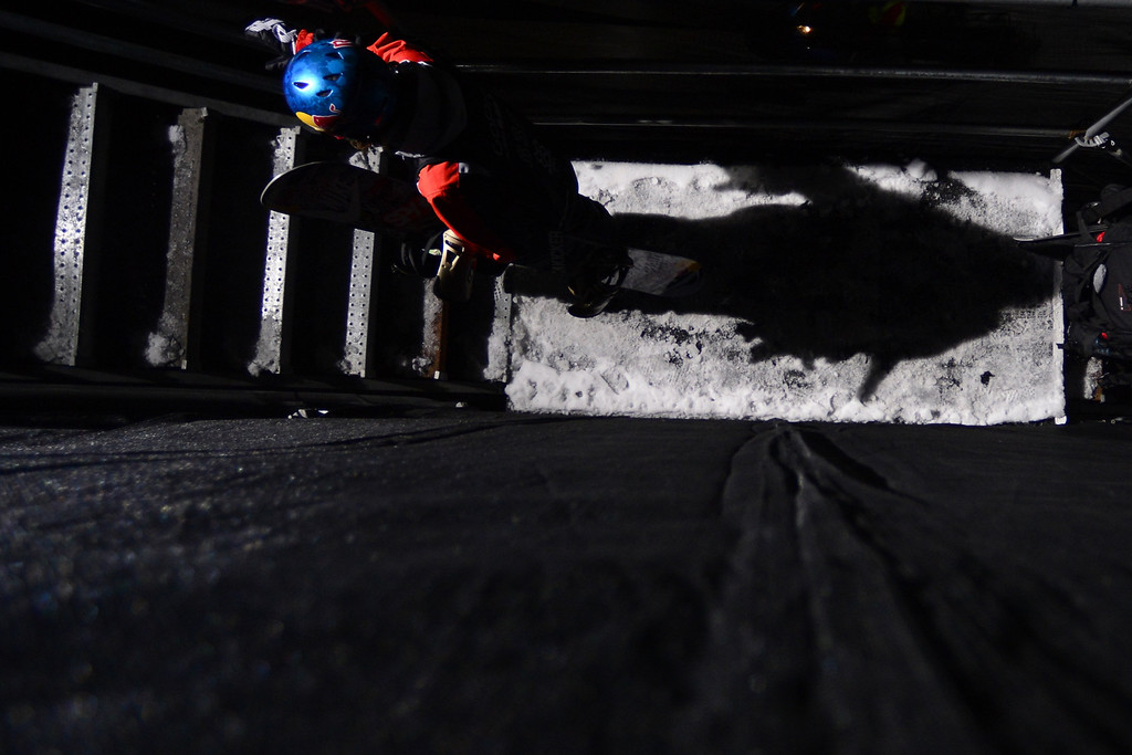 . ASPEN, CO - JANUARY 27: Louie Vito ascends the stairs during the men\'s snowboard superpipe final. X Games Aspen Buttermilk Mountain January 27, 2013. (Photo By AAron Ontiveroz/The Denver Post)