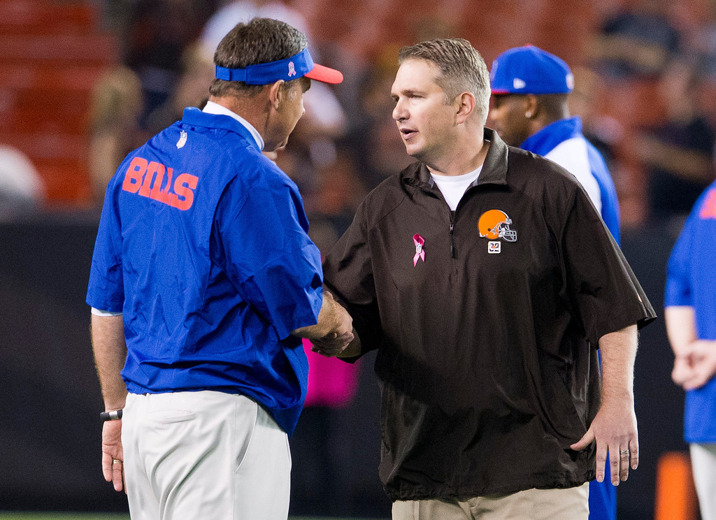 . CLEVELAND, OH - SEPTEMBER 29: Head coaches Doug Marrone of the Buffalo Bills (L) and Rob Chudzinski of the Cleveland Browns shake hands prior to the game at FirstEnergy Stadium on October 3, 2013 in Cleveland, Ohio. (Photo by Jason Miller/Getty Images)