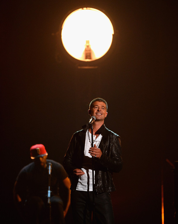 . Singer Robin Thicke performs onstage during the 2014 Billboard Music Awards at the MGM Grand Garden Arena on May 18, 2014 in Las Vegas, Nevada.  (Photo by Ethan Miller/Getty Images)