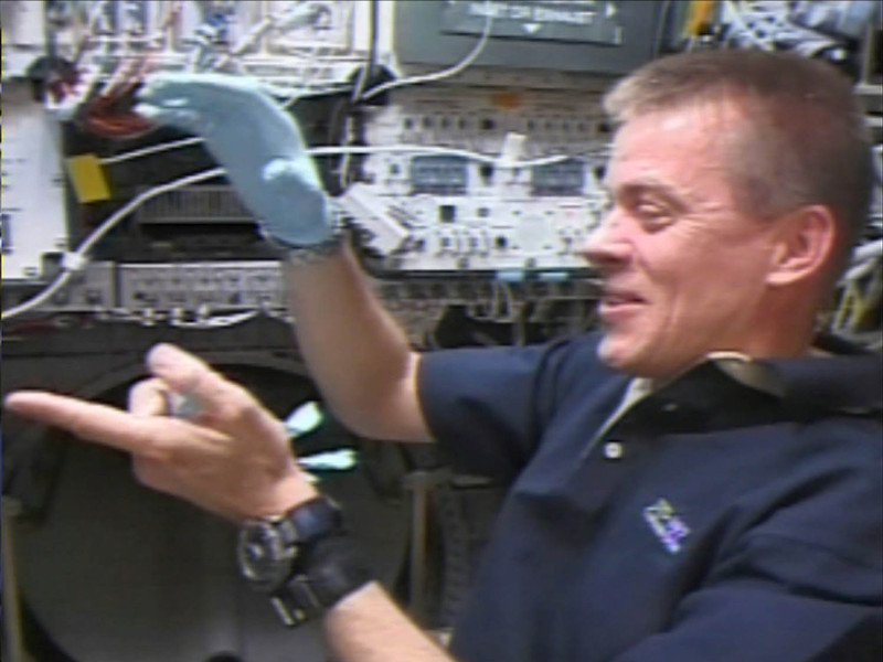 . This image released by NASA TV, Tuesday, June 24, 2003 shows William McCool aboard space shuttle Columbia during the mission in January 2003. . This image  was recovered during search efforts since the loss of Columbia on Feb. 1, 2003. (AP Photo/NASA TV)