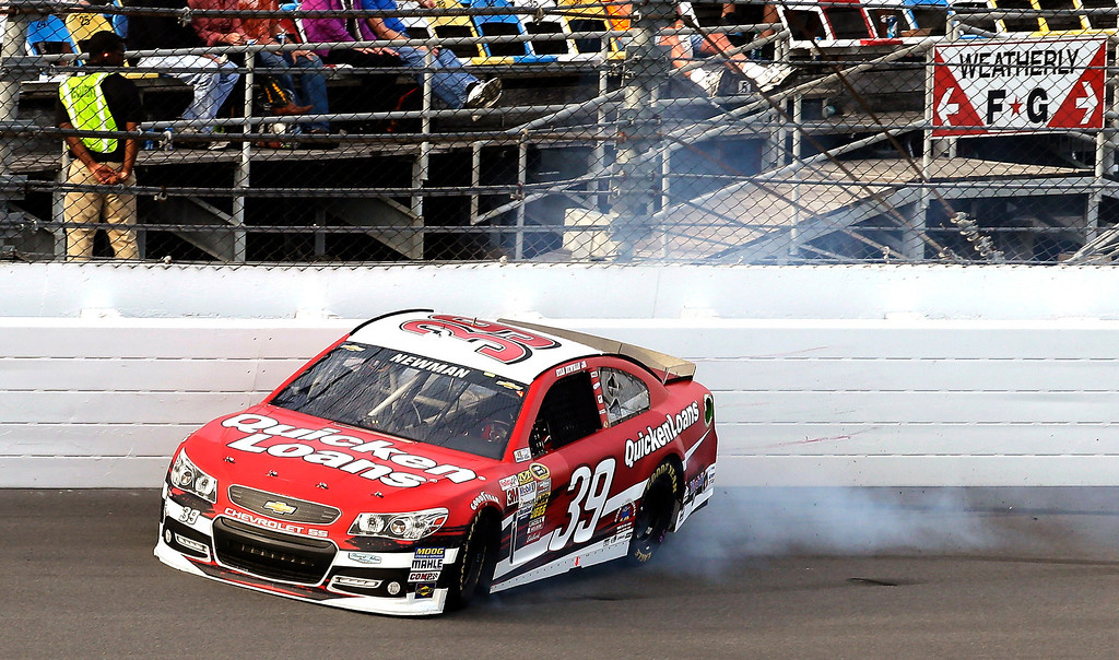 . Ryan Newman hits the wall during the second of two 150-mile qualifying races for the NASCAR Sprint Cup Series Daytona 500 auto race, Thursday, Feb. 21, 2013, at the Daytona International Speedway in Daytona Beach, Fla. (AP Photo/Chris O\'Meara)