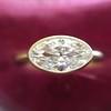 1.17ct Antique Moval Cut Diamond Bezel Ring, GIA E SI1 11