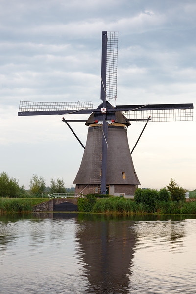 This windmill is made of wood.