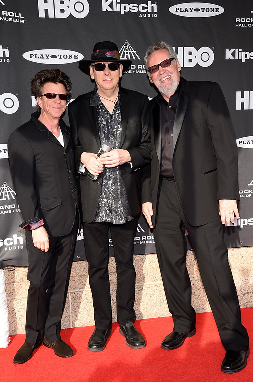 . Musicians Chris Layton, Tommy Shannon and Reese Wynans of Double Trouble attend the 30th Annual Rock And Roll Hall Of Fame Induction Ceremony at Public Hall on April 18, 2015 in Cleveland, Ohio.  (Photo by Michael Loccisano/Getty Images)