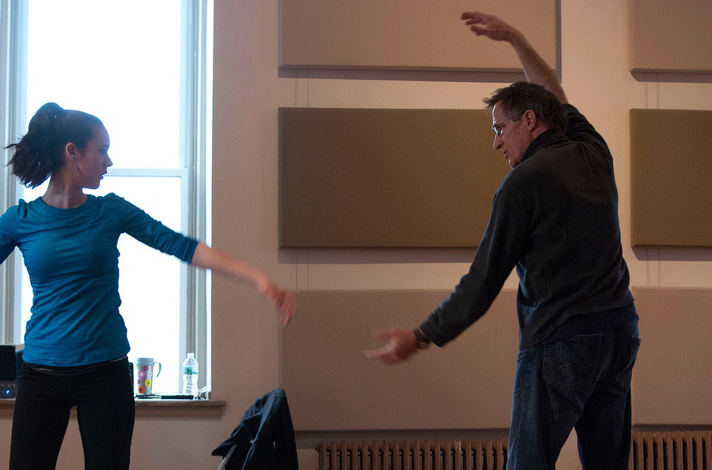 . Kayla Rice/Reformer                                 IBIT (Intrinsic Beauty of Invisible Things) instructor Donlin Foreman gives dancer Zoe Flagollet, 16, help during a rehearsal at their Elliot St. studio in Brattleboro on Tuesday afternoon.