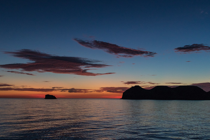 Silhouetted islands in the sea of Cortez with sunrise colors - , , , Mexico (MX)