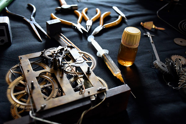4/7/2018 Mike Orazzi | Staff Some of the tools used by clock repairman John Smayda on the opening day of the American Clock & Watch Museum in Bristol Saturday.