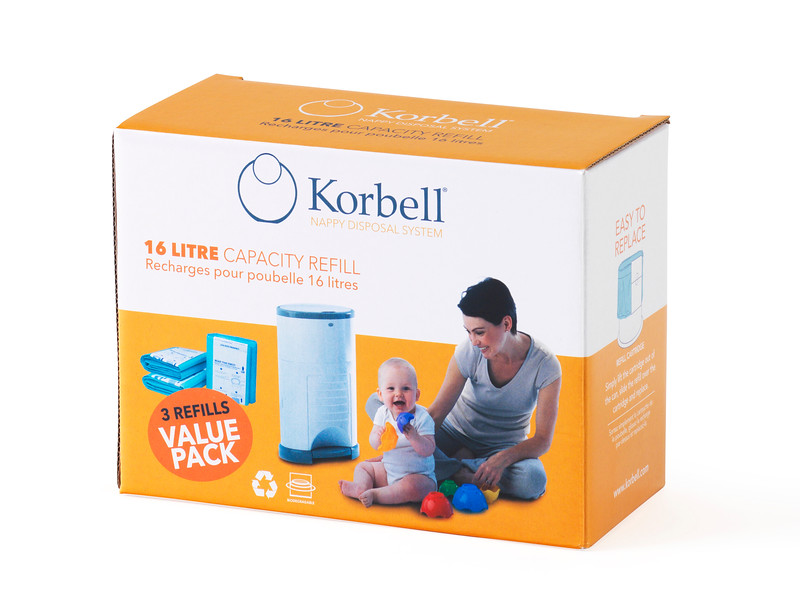 Korbell_Nappy_Bin_Packaging_Shot_Standard_16L_Three_Refills_Front_Angle.jpg