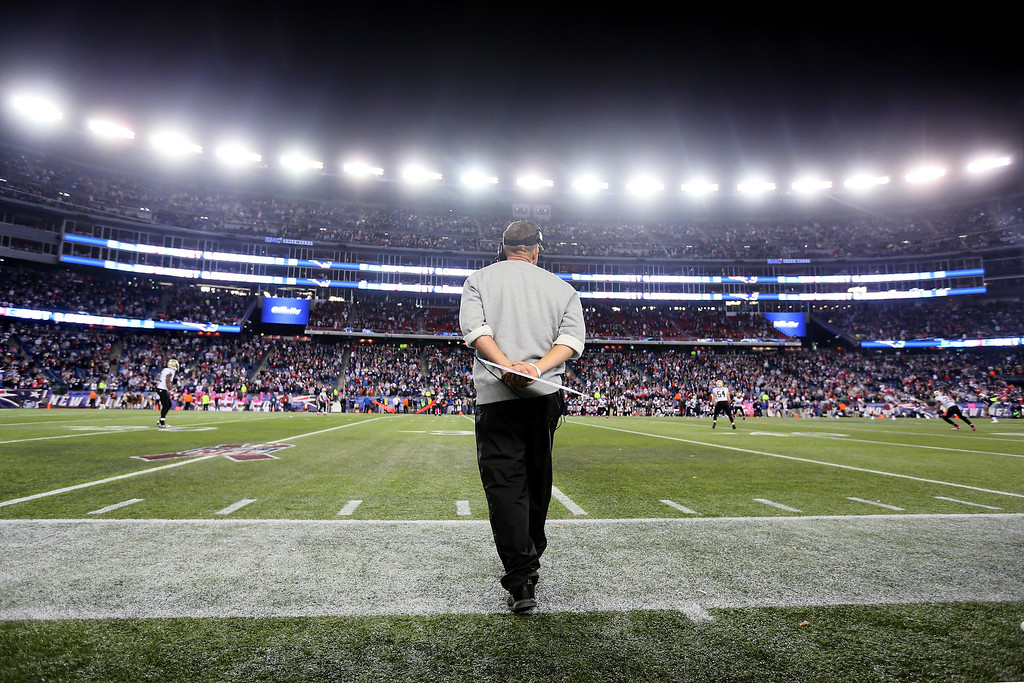 . Head coach Sean Payton of the New Orleans Saints looks on from the sidelines during the closing seconds of the Saints 30-27 loss to the New England Patriots at Gillette Stadium on October 13, 2013 in Foxboro, Massachusetts.  (Photo by Rob Carr/Getty Images)