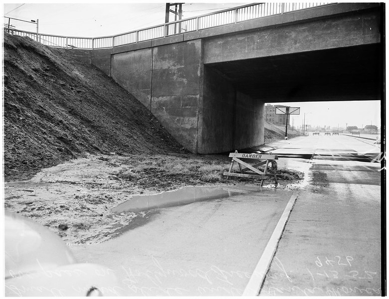 Mudslide Under Hollywood Freeway Bridge