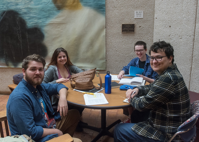 Students (left to right) Spencer Tolleson, Jacqueline Mears, Jason Norris, and Sergio Elizondo rehearse lines in the Center for Arts.