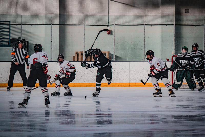 Holy Family Boys Varsity Hockey vs. Elk River, 12/27/19: Ben Reddan '21 (6)