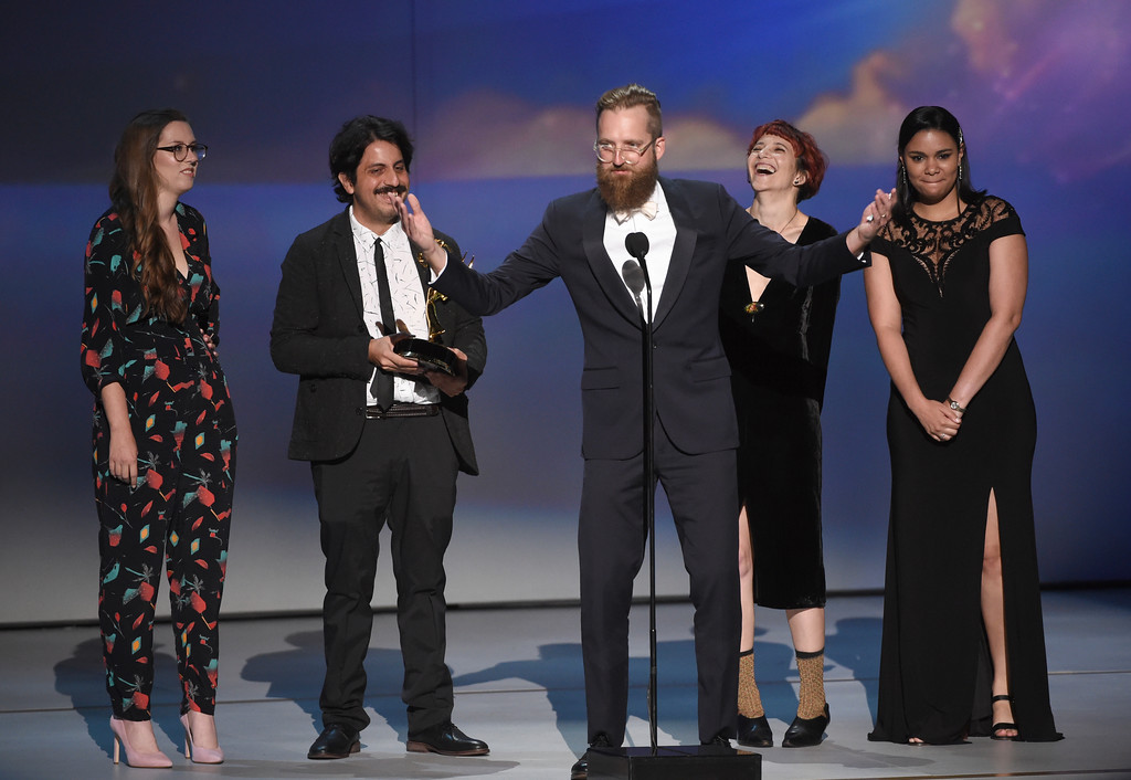 ". The team from the episode ""Mushrooms\"" of \""Broad City\"" accept the award for outstanding motion design for \""Broad City - Mushrooms\"" during night two of the Television Academy\'s 2018 Creative Arts Emmy Awards at the Microsoft Theater on Sunday, Sept. 9, 2018, in Los Angeles. (Photo by Phil McCarten/Invision/AP)"