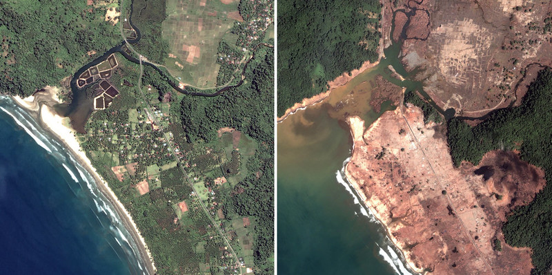 . This satellite image released by DigitalGlobe shows an overview taken April 12, 2004 of Gleebruk village, Sri Lanka before the Indian Ocean tsunamis on the left and an overview taken on Jan. 2, 2005 after the Indian Ocean tsunamis. (AP Photo/DigitalGlobe, HO)