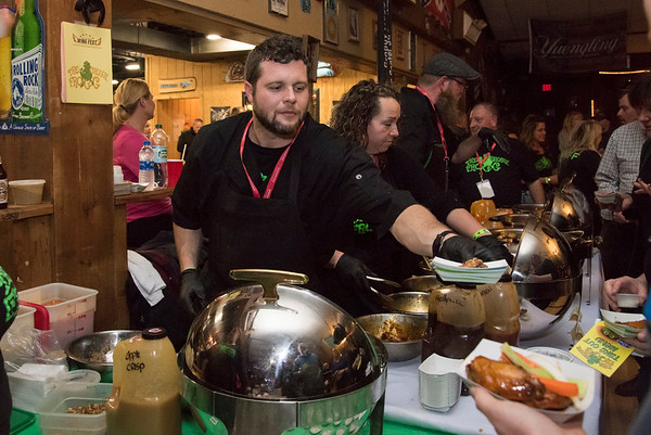 11/19/19 Wesley Bunnell   StaffrrSeveral flavors of wings were available at the Groggy Frogg table during the Southington Chamber of Commerce's annual WingFest at the Cadillac Ranch on Monday night November 18 , 2019.