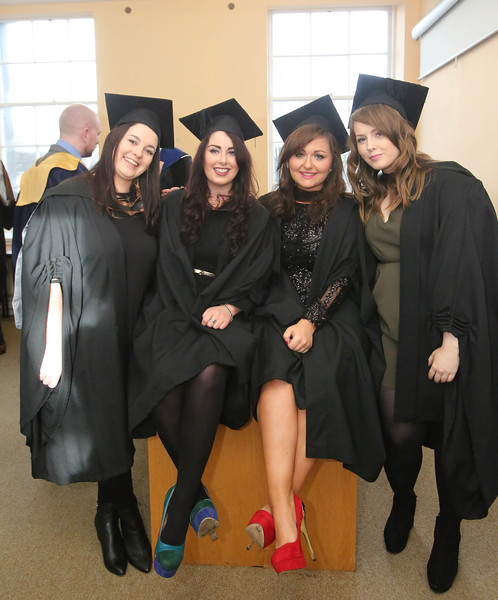 Waterford Institute Of Technology Conferring. Pictured at WIT Waterford Institute Of Technology Conferring are Cathriona White, Waterford, Lisa Courtney, New Ross, Nicole Landers, Waterford and Aoife Hogan, Tipperary who graduated Bachelor of Arts (Hons) in Marketing. Picture: Patrick Browne