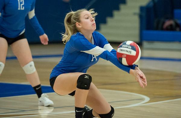 10/21/19 Wesley Bunnell | StaffrrPlainville High School girls volleyball vs visiting Berlin High on Monday night. Plainville's Olivia Wazorko (14).