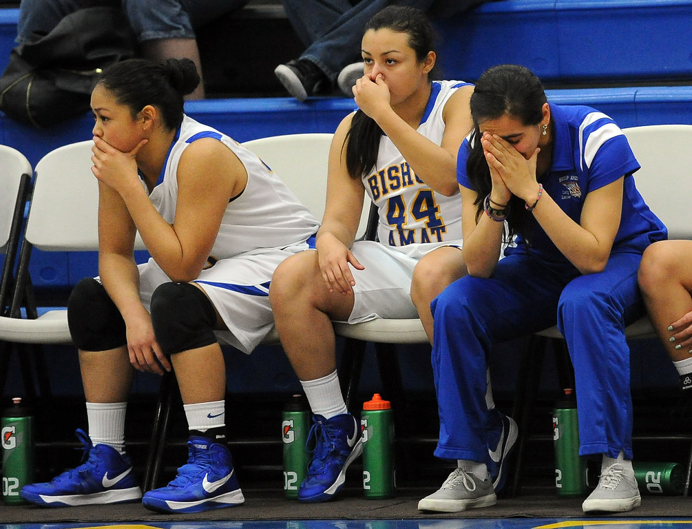 . Bishop Amat bench in the second half of a CIF State Southern California Regional semifinal basketball game at Bishop Amat High School on Tuesday, March 12, 2013 in La Puente, Calif. Long Beach Poly won 52-34.  (Keith Birmingham Pasadena Star-News)