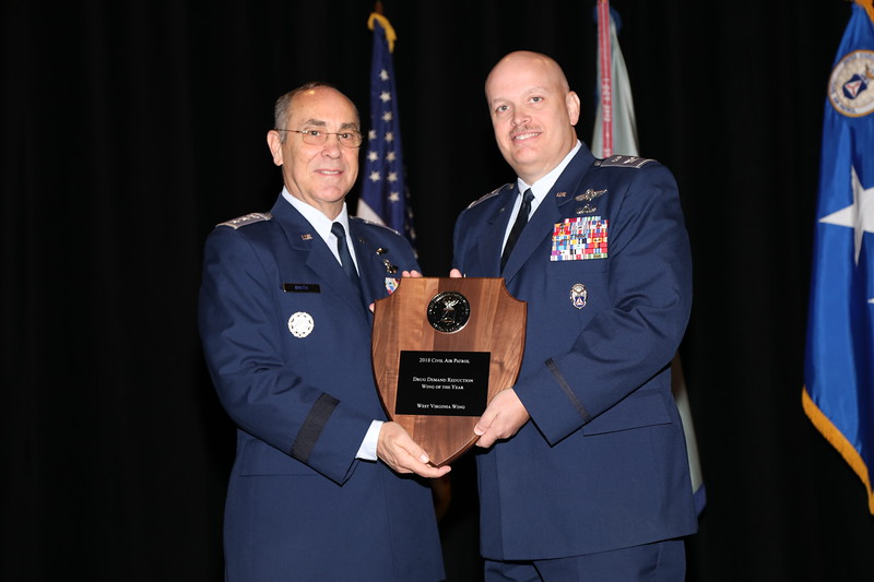 Each year CAP selects the wing demonstrating the strongest commitment working toward a drug free America.  The Outstanding Drug Demand Reduction Wing is the West Virginia Wing.  Accepting the award is the wing commander, Col Paul McCrosky.  Photo by Susan Schneider, CAPNHQ