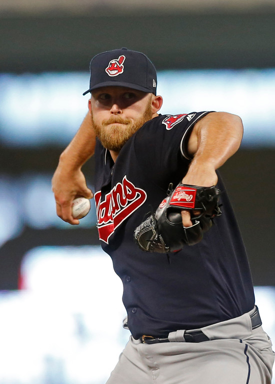 . Cleveland Indians relief pitcher Cody Allen throws Minnesota Twins in the ninth inning of a baseball game against the Minnesota Twins Monday, April 17, 2017, in Minneapolis. The Indians won 3-1, with Allen picking up the save. (AP Photo/Jim Mone)
