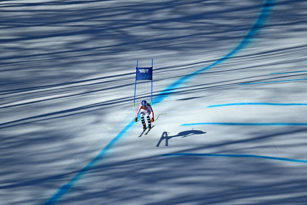 . Germany\'s Victoria Rebensburg competes during the Women\'s Alpine Skiing Downhill at the Rosa Khutor Alpine Center during the Sochi Winter Olympics on February 12, 2014. AFP PHOTO / KIRILL KUDRYAVTSEV/AFP/Getty Images
